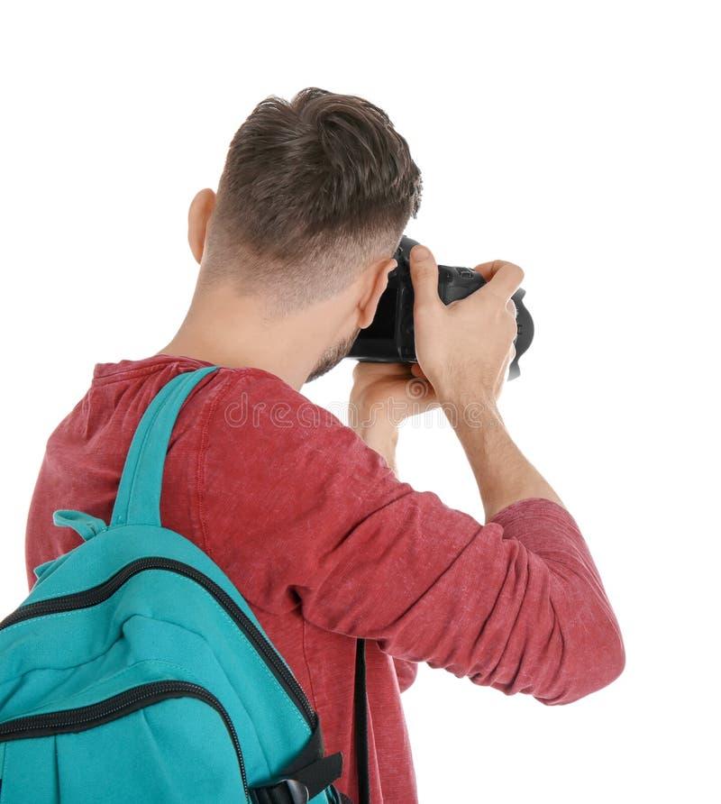 有照相机的男性摄影师 免版税库存照片