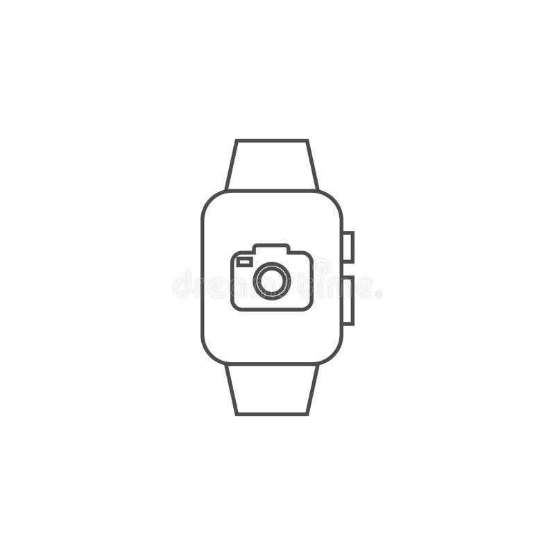 有照相机象的巧妙的手表 流动概念和网apps的元素 网站设计和发展的, app dev稀薄的线象 向量例证