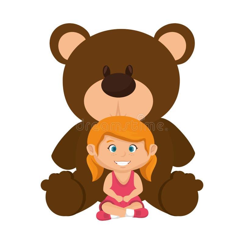 有熊女用连杉衬裤的女孩 库存例证