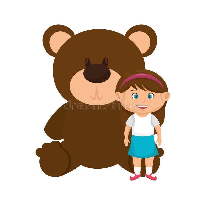 有熊女用连杉衬裤的女孩 向量例证