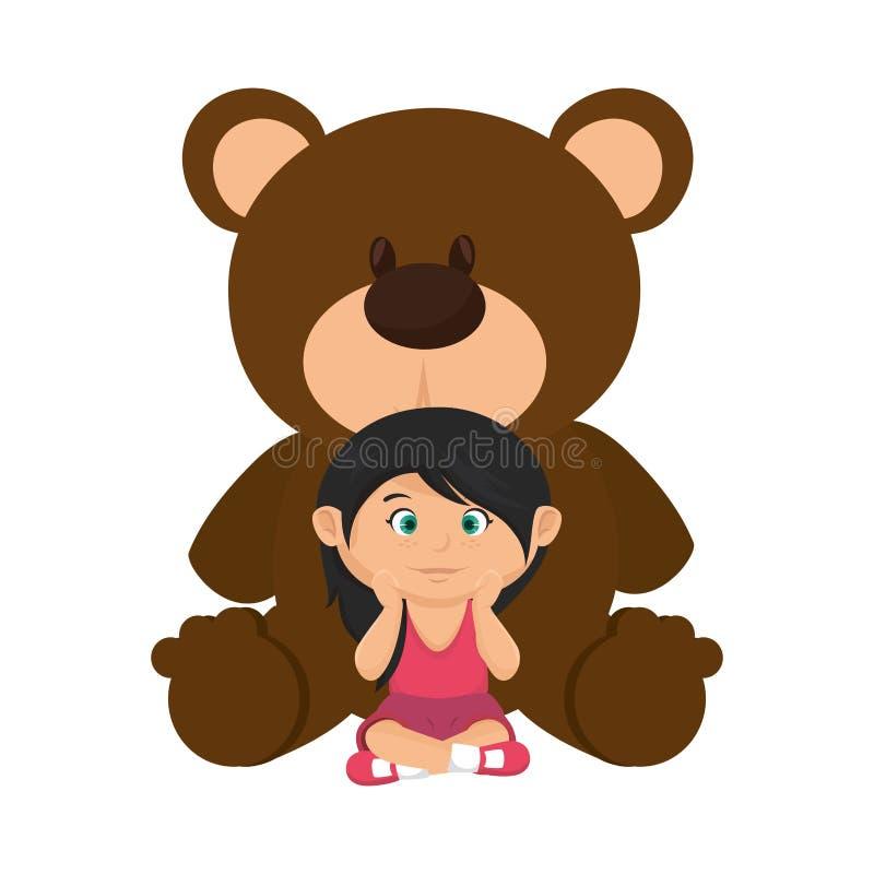 有熊女用连杉衬裤的女孩 皇族释放例证