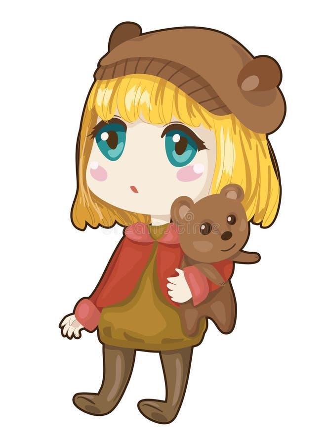 有熊的女孩 免版税库存图片