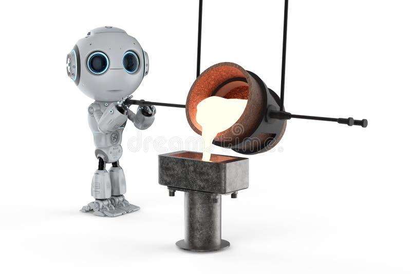 有熔融金属的机器人 库存例证