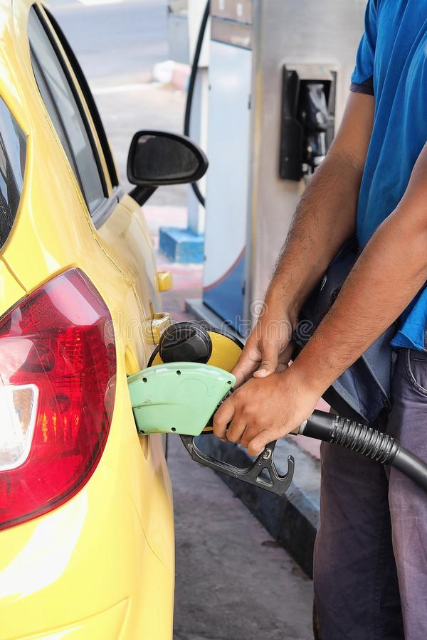 有燃料的换装燃料机器 免版税图库摄影