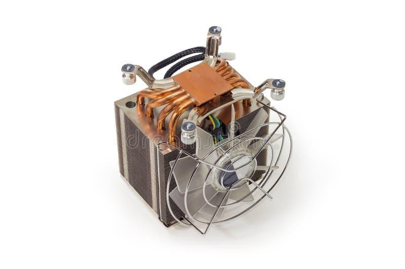 有爱好者和铜热导管的活跃CPU吸热器 免版税图库摄影