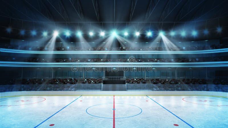 有爱好者的曲棍球体育场拥挤和一个空的滑冰场 向量例证