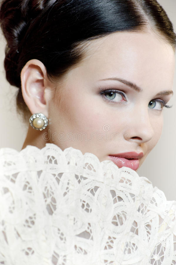 有爱好者的美丽的妇女 免版税库存图片