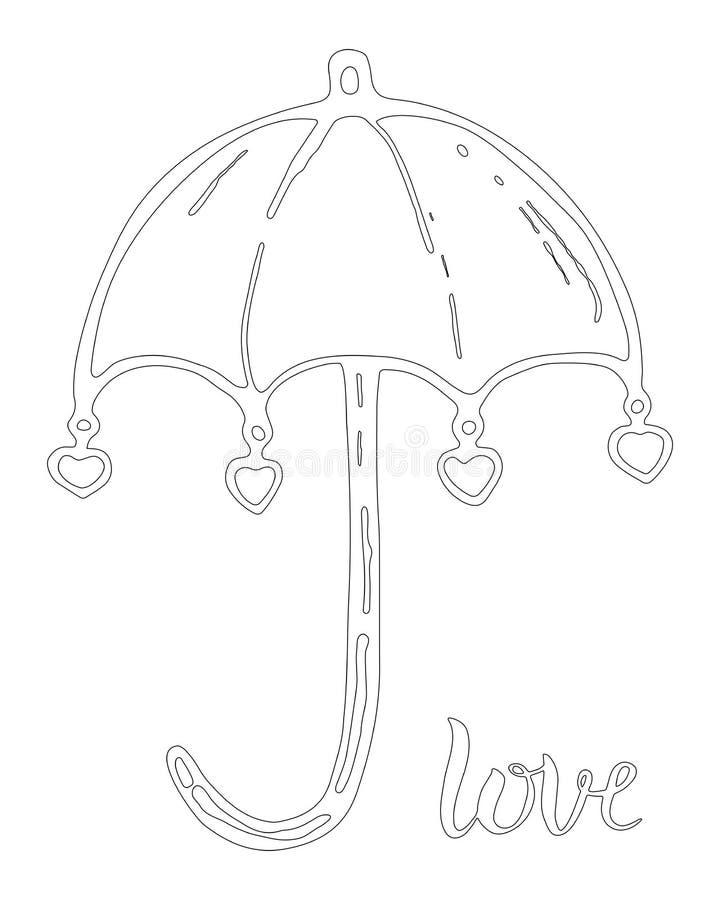 有爱心脏的伞 象查找的画笔活性炭被画的现有量例证以图例解释者做柔和的淡色彩对传统 彩图页,钢板蜡纸 皇族释放例证