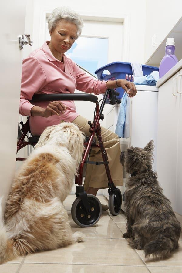 有爱犬的妇女由洗衣机在卫生间里 免版税库存照片