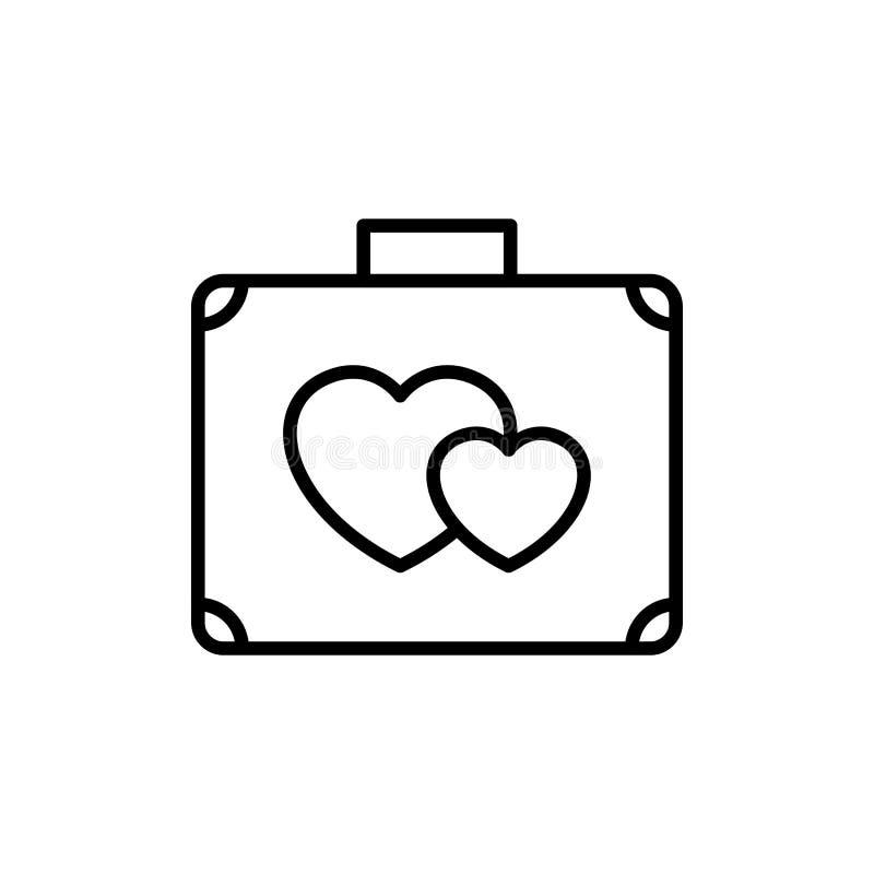 有爱象的手提箱 蜜月假日旅行例证 简单的干净的monoline标志 皇族释放例证