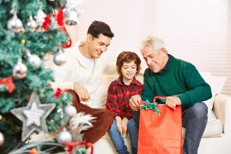 有父亲和祖父的男孩在 库存图片