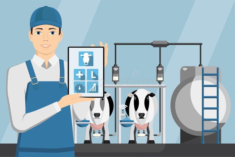 有片剂的农夫在现代奶牛场 向量例证