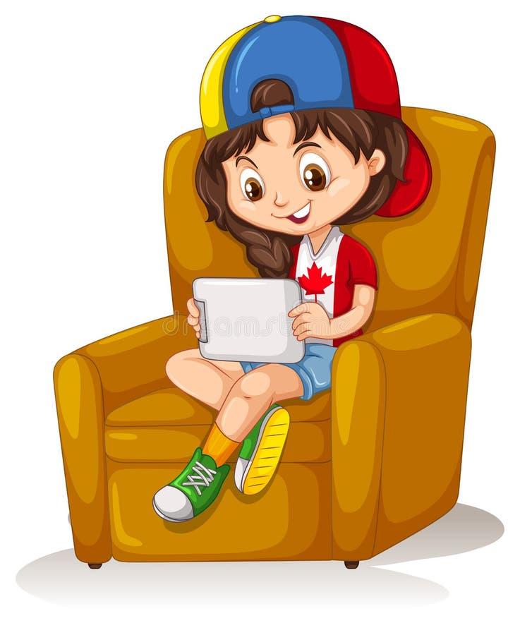 有片剂的小女孩坐椅子 皇族释放例证