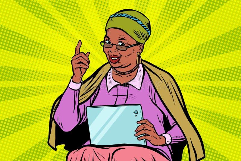有片剂的非洲年长妇女 向量例证