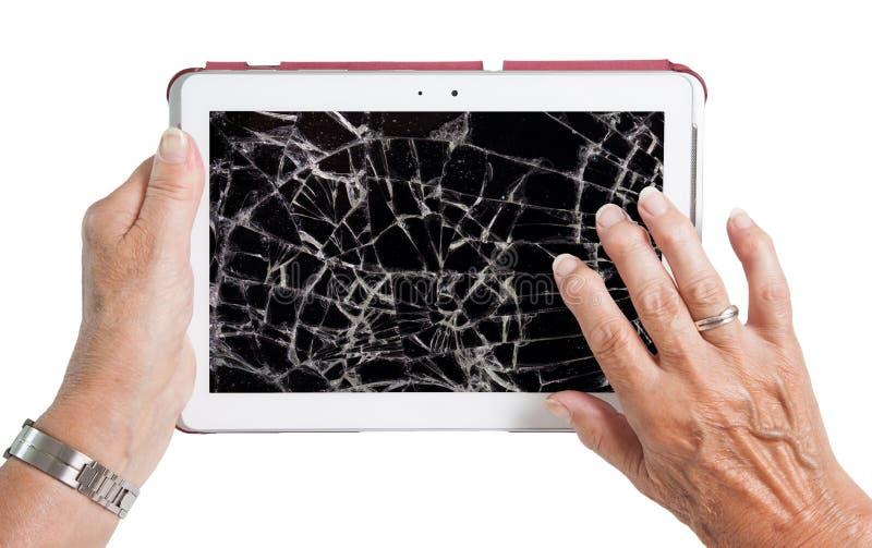 有片剂的,破裂的屏幕资深夫人 免版税库存照片
