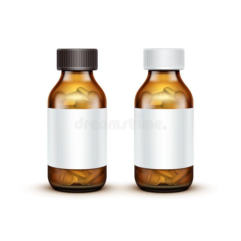 有片剂药片的传染媒介玻璃医疗瓶 向量例证