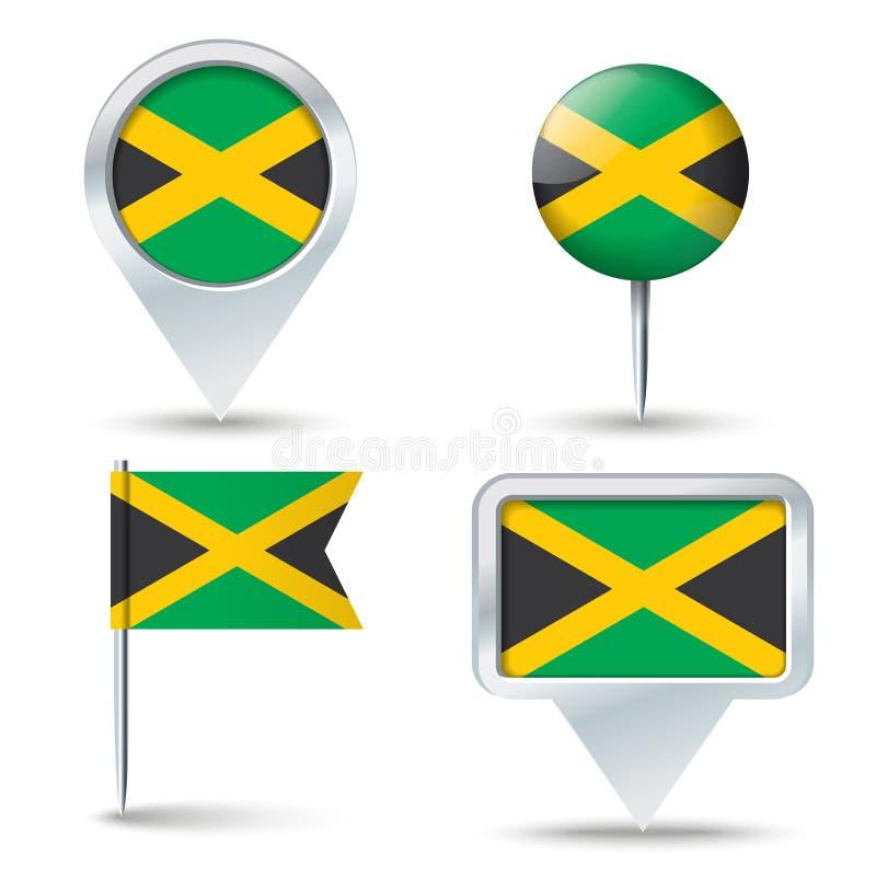 有牙买加的旗子的地图别针 皇族释放例证