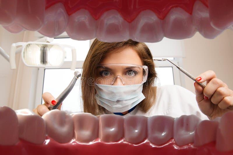 有牙齿工具的女性牙医 免版税库存照片