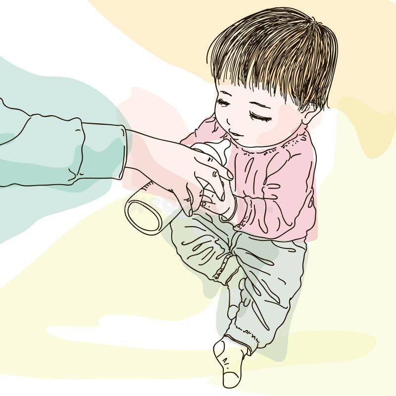 有牛奶瓶的俏丽的婴孩 库存例证