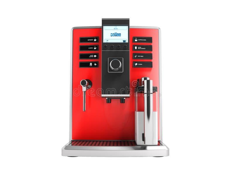 有牛奶红色前面的3d r一个现代多功能咖啡机器 皇族释放例证