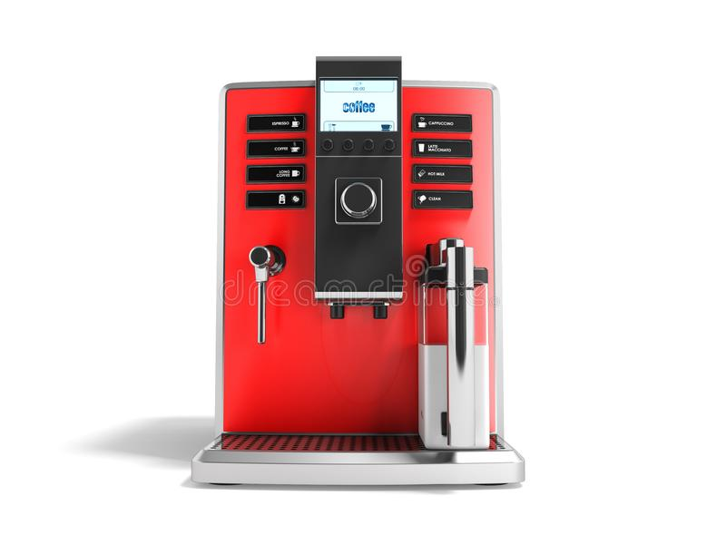 有牛奶红色前面的3d r一个现代多功能咖啡机器 库存例证