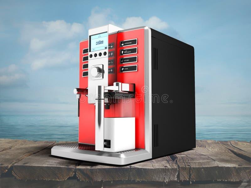 有牛奶红色的一个现代多功能咖啡机器从b 库存例证