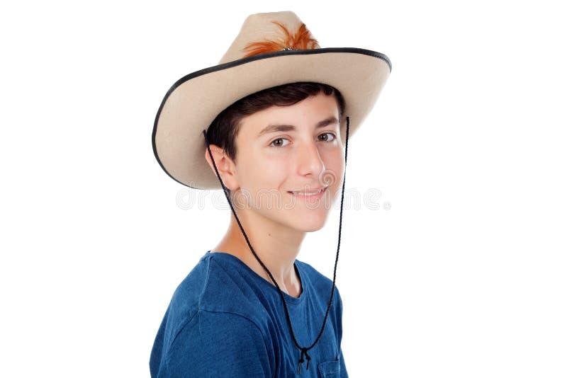 有牛仔帽的少年男孩 免版税库存照片