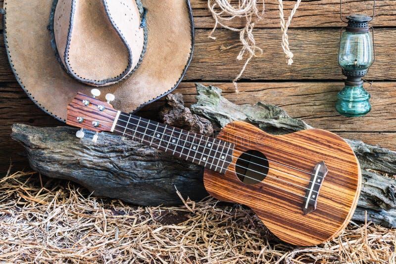 有牛仔帽的尤克里里琴在谷仓背景 库存图片