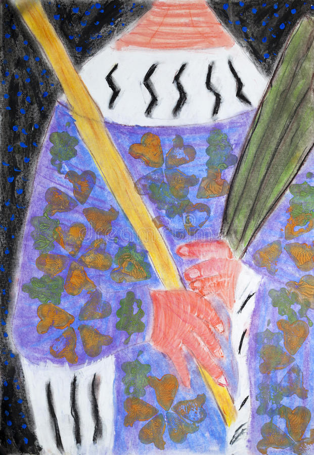 有牧杖和棕榈分支的主教 库存照片
