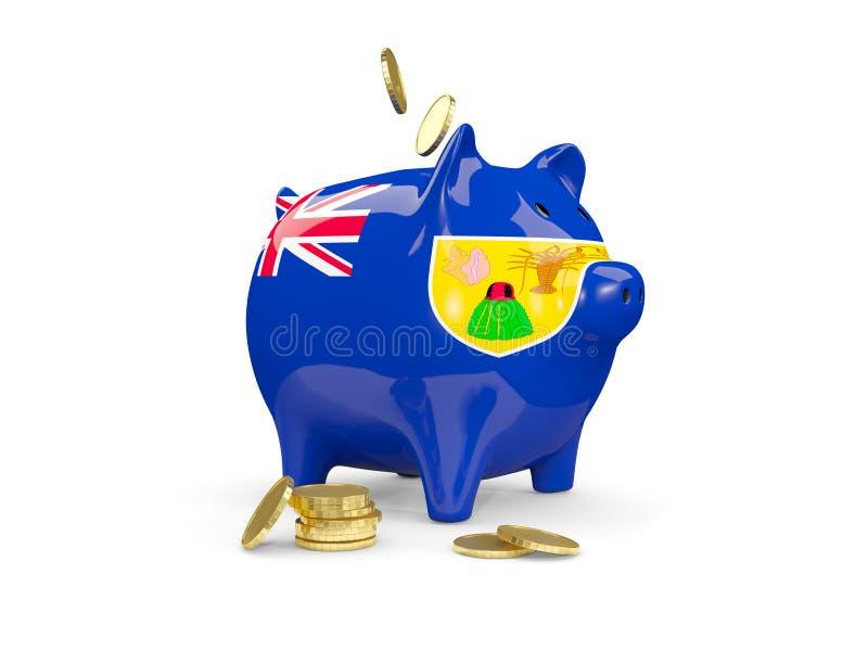 有特克斯和凯科斯群岛的旗子的肥胖存钱罐 向量例证
