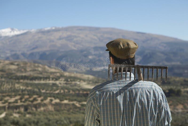 有犁耙的农夫在反对山的肩膀 库存照片