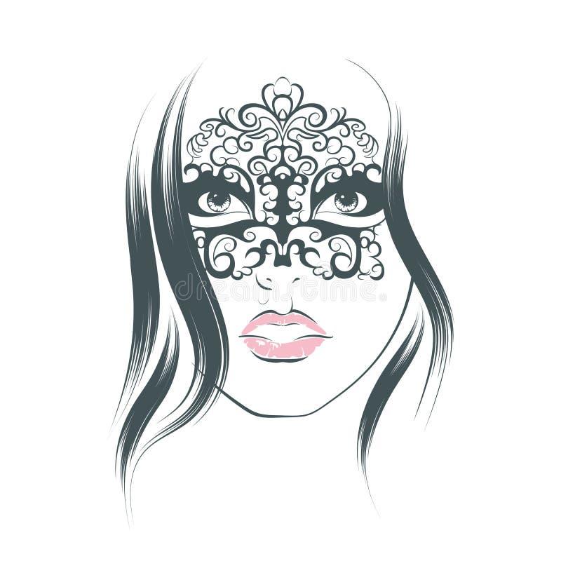 有狂欢节面具的画象妇女 库存例证
