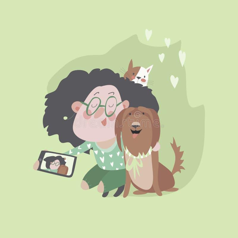 有狗和猫的逗人喜爱的女孩做selfie 皇族释放例证