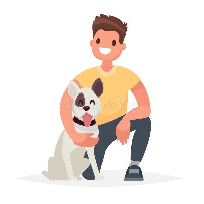 有狗的人 照料一个四脚朋友 传染媒介Illust 库存例证