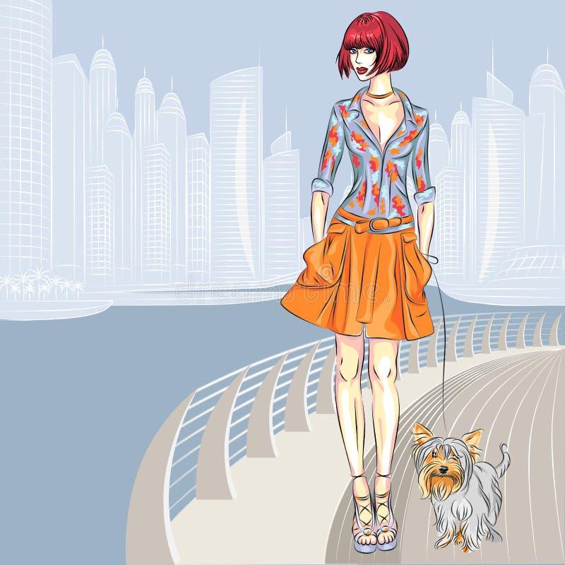 有狗的传染媒介美丽的女孩沿江边走 库存例证