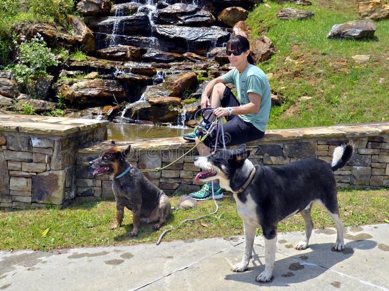 有狗的妇女远足者 免版税图库摄影