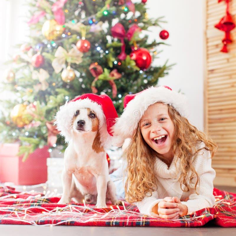 有狗的孩子在圣诞树附近 库存照片