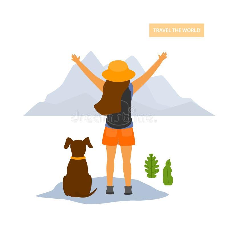 有狗的年轻愉快的旅行的远足者女孩 向量例证