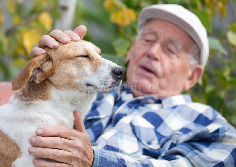 有狗的老人在庭院里 免版税库存照片