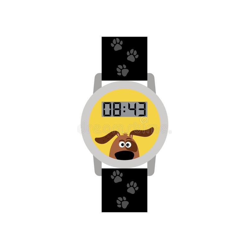 有狗的蓝色数字式孩子手表 库存例证