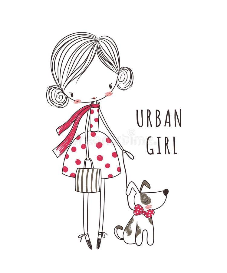 有狗的都市女孩 衣物的时尚例证 库存例证