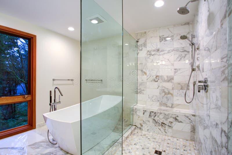 有独立浴缸和步行的光滑卫生间在阵雨 免版税库存照片