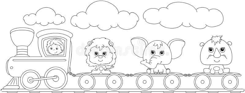 有狮子、大象和犀牛的滑稽的动画片火车 书五颜六色的彩图例证 向量例证