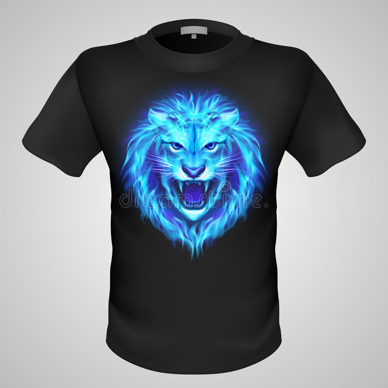 有狮子印刷品的男性T恤杉。 向量例证