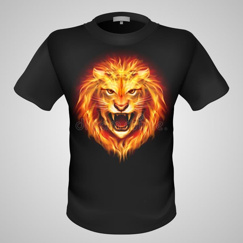 有狮子印刷品的男性T恤杉。 库存例证