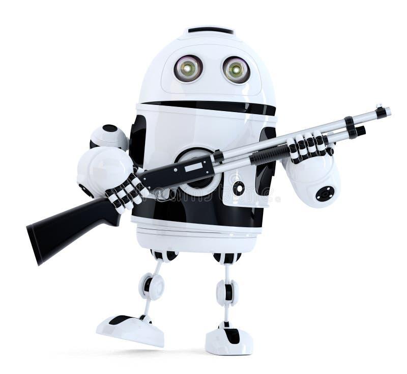 有猎枪的机器人 概念查出的技术白色 3d例证 包含 库存例证