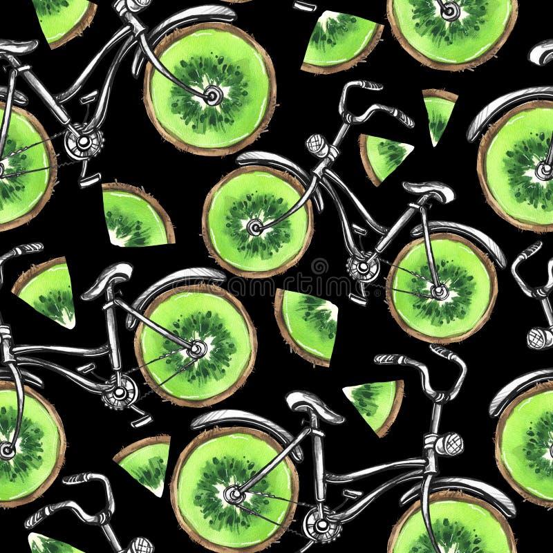 有猕猴桃轮子的水彩无缝的样式自行车 背景五颜六色的例证夏天向量 皇族释放例证