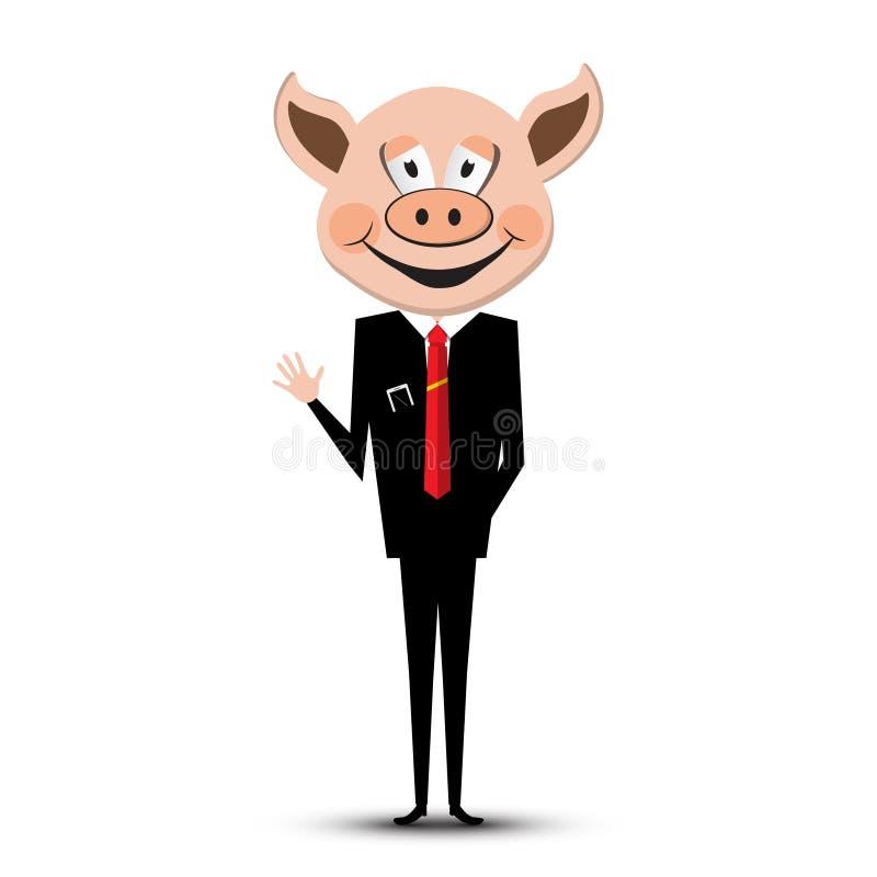 有猪头的人 向量 皇族释放例证