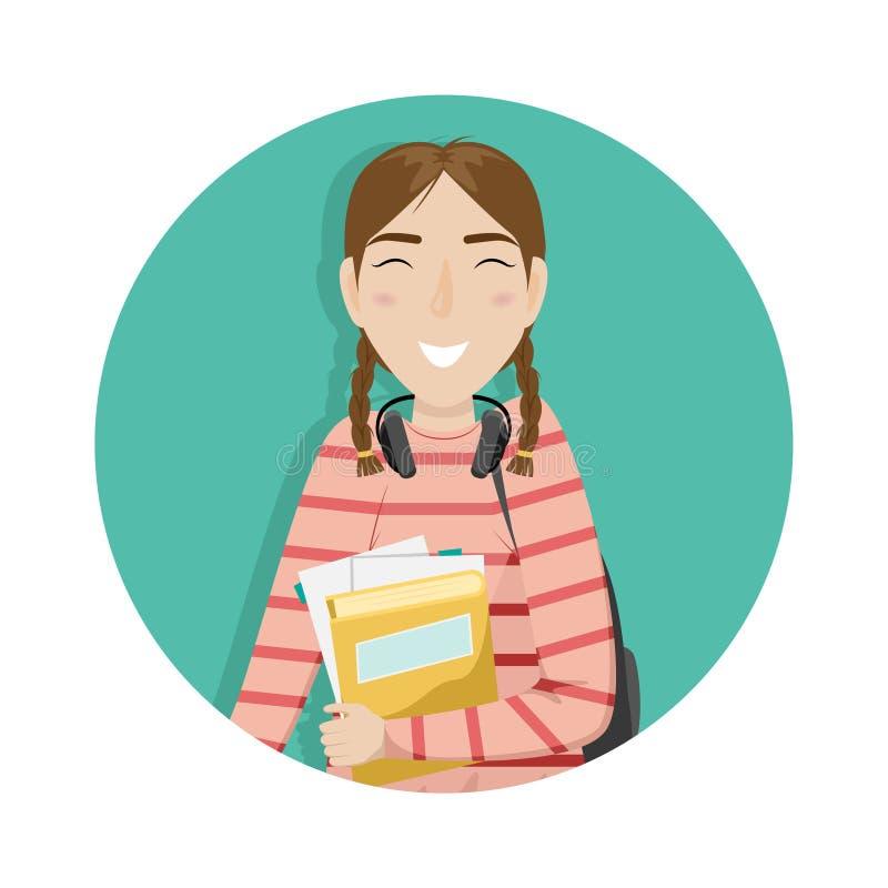 有猪尾的女小学生在她的手上拿着书 有耳机的女孩 向量例证