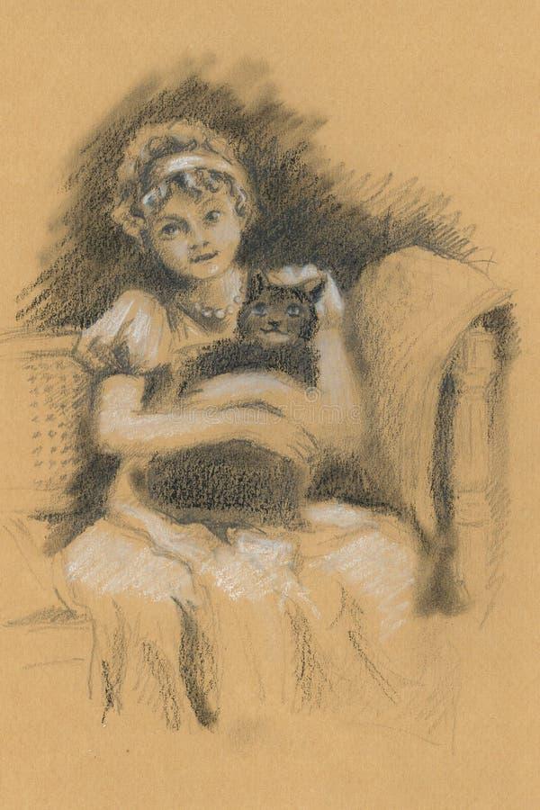 有猫的俏丽的女孩 婴孩 葡萄酒 减速火箭 向量例证
